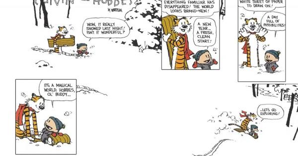 Imagen de la última viñeta de Calvin y Hobbes